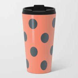 Salmon Pink and Grey Polka Dots Travel Mug