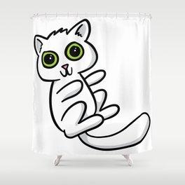 White Kitten Shower Curtain