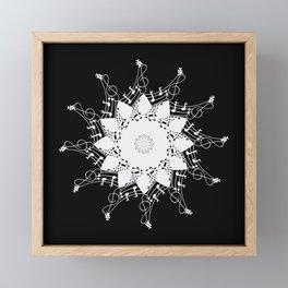 Mandala music blanc Framed Mini Art Print