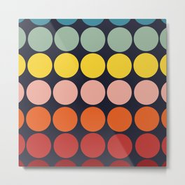 Classic Freehand Rainbow Retro Bubbles And Dots Metal Print