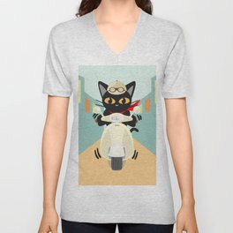 Scooter in the town Unisex V-Neck
