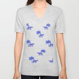 Tiger,Indian jungle white and blue pattern decor Unisex V-Neck
