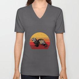 Retro Ferret Gift Idea Design Motif Unisex V-Neck