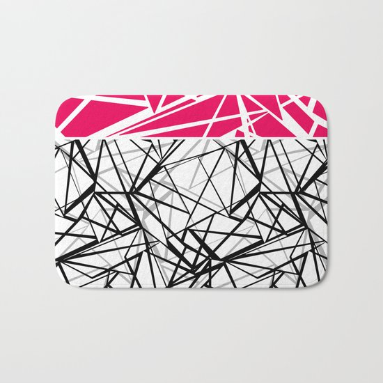 Black and white abstract geometric pattern with red inlay . Bath Mat