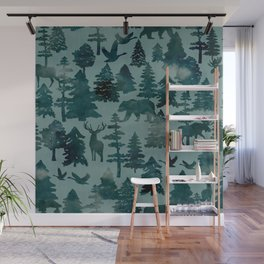 The Wild North, Wildlife, Blue Silhouette Forest and Animal Print Wall Mural