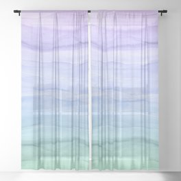 Layers Blue Ombre - Watercolor Abstract Sheer Curtain