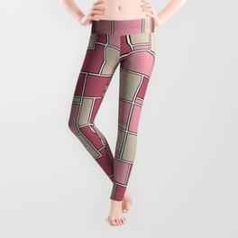 Pink beige check . Leggings
