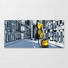 Girl walking on a London street Canvas Print