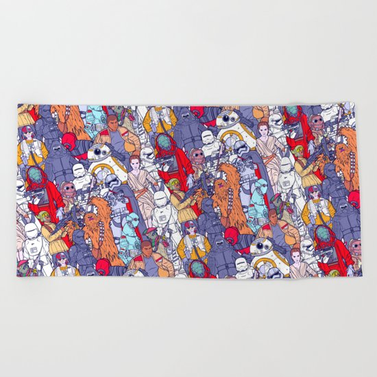 Space Toons in Color Beach Towel