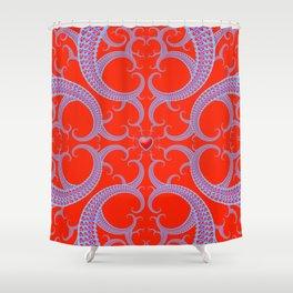 Red Celtic Fractal Art Shower Curtain