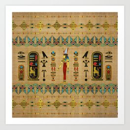 Egyptian Mut Ornament on papyrus Art Print
