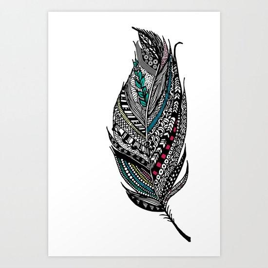 Single Aztec Feather  Art Print