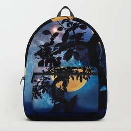 Wolf howling at the full moon Backpack