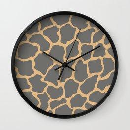 Safari Giraffe Print - Gray & Beige Wall Clock
