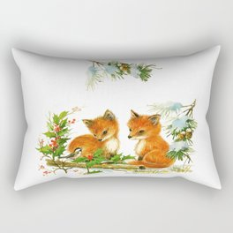 Vintage dream- little Winterfoxes in snowy forest Rectangular Pillow