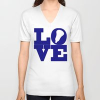lacrosse V-neck T-shirts featuring Lacrosse Love Navy Blue by YouGotThat.com