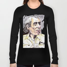 Charles Bukowski portrait in watercolor and ballpoint by McHank Long Sleeve T-shirt