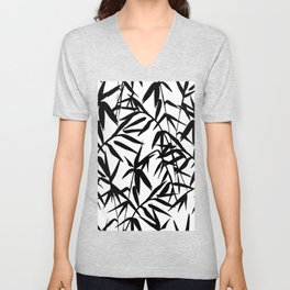 Black and White Watercolor Bamboo Seamless Pattern Unisex V-Neck