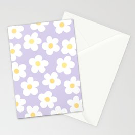 Lavender 70's Retro Flower Power Stationery Cards