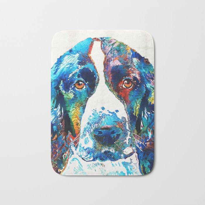 Colorful English Springer Spaniel Dog by Sharon Cummings Bath Mat