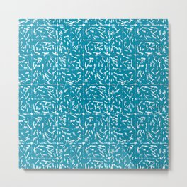 Crosshatch - Teal Metal Print