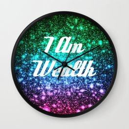 Wealth Affirmation Galaxy Sparkle Stars Wall Clock
