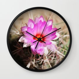 Pink Cactus Blossom Flower Wall Clock