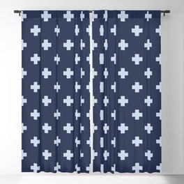 Pale Blue Swiss Cross Pattern on Navy Blue background Blackout Curtain