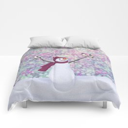 snowman and chickadees Comforters
