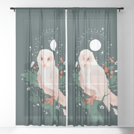 Keeper of the Celestial Wisdom White Owl Sheer Curtain