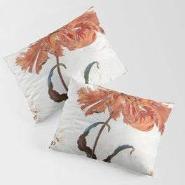 A Parrot Tulip Auriculas & Red Currants with a Magpie Moth Caterpillar Pupa by Maria Sibylla Merian Pillow Sham