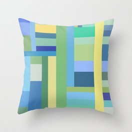 Abstract Blue Mint Green Geometry Throw Pillow