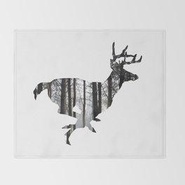 Deer forest winter silhouette Throw Blanket