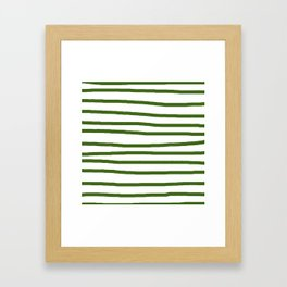 Simply Drawn Stripes in Jungle Green Framed Art Print