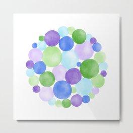 Blue, Purple and Green Watercolour Circles Metal Print