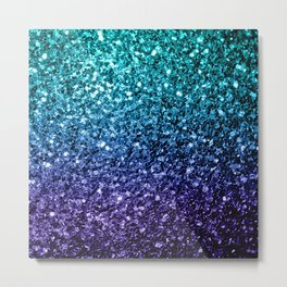 Beautiful Aqua blue Ombre glitter sparkles Metal Print