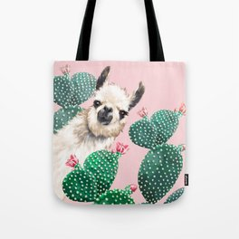 Llama and Cactus Pink Tote Bag