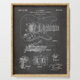 Guitar Tremelo Patent - Guitarist Art - Black Chalkboard Serving Tray