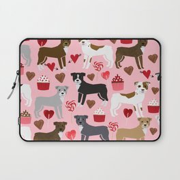 Pitbull valentine dog love rescue dogs valentines day hearts cupcakes dog gifts Laptop Sleeve