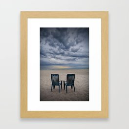 Sunrise on the Beach with Two Chairs at Oscoda Michigan Framed Art Print
