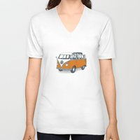 vw V-neck T-shirts featuring VW Campervan by Lara Trimming