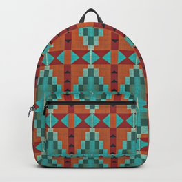 Orange Red Aqua Turquoise Teal Native Mosaic Pattern Backpack