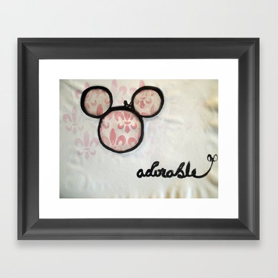 Adorable Mouse Fleur de lis Painting Framed Art Print