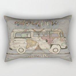 adventure awaits world map design 1 Rectangular Pillow