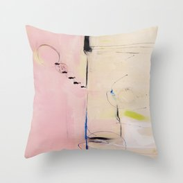 No. 04 Pink Abstract Painting  Throw Pillow