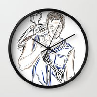 daryl dixon Wall Clocks featuring Daryl Dixon by Salina Ayala