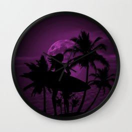 Purple Dusk with Surfergirl in Black Silhouette with Shortboard Wall Clock
