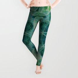 Detailed mandala in blue and green clours Leggings