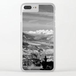 Innsbruck In Winter From Patscherkofel Mountain black white Clear iPhone Case