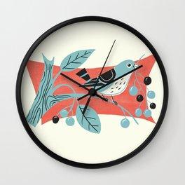 Blue Berry Bird Wall Clock